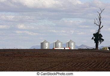 silos on a farm