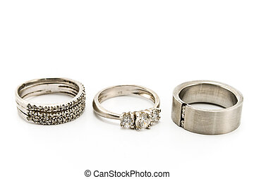 Three silver rings