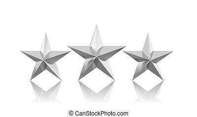 Three silver stars isolated on white background