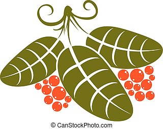 Three simple green vector leaves with tendrils and orange...