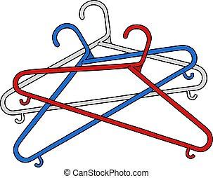 Three simple plastic coathangers