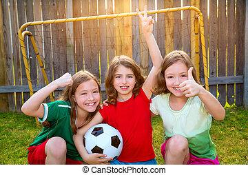 three sister girls friends soccer football winner players