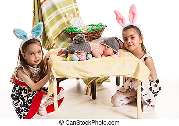Three sisters  with Easter bunny ears