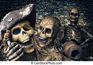 Three Skeleton Pirates Portrait
