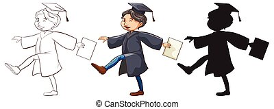 Three sketches of a boy graduating - Illustration of the...