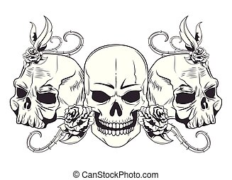 three skull drawn tattoo icon