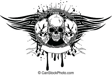three skulls tribal - Vector illustration human death skulls...