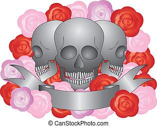 Three Skulls with Banner