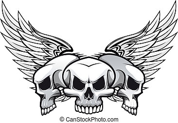 Three skulls with wings