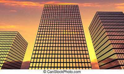 Three skyscrapers on the sunset sky background