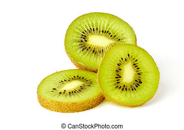 Three Sliced Kiwi Fruits On White Background