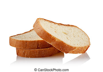 three slices of bread on a white background