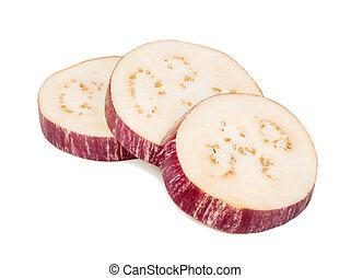 Three slices of eggplant