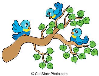 Three small birds sitting on branch - vector illustration.