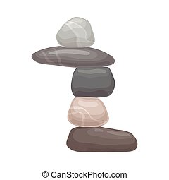 Three small stones lie on the big one. Vector illustration on white background.