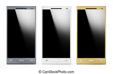 Three smartphones with blank screens. 3D illustration