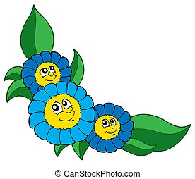 Three smiling blue flowers