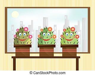 Three smiling cactus