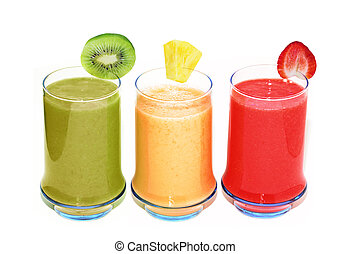 Three Smoothie Glasses - Three smoothie glasses isolated on...
