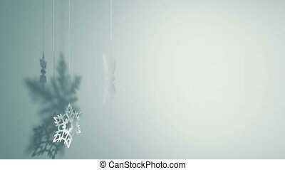 Three snowflakes rotating - Three paper snowflakes hanging...