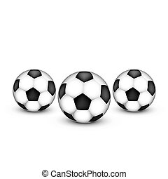 Three soccer ball on a white background.