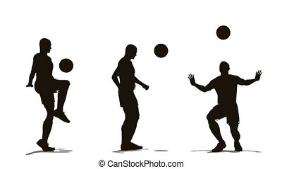 three soccer player with ball - Three soccer player with...