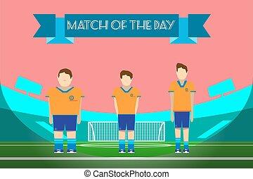 Three soccer players on football stadium