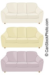 three sofas in different colors