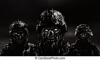 Three soldiers zombies in helmets stand against a dark sky. Animation in genre of horror.