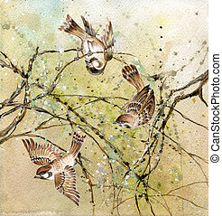 Three sparrows - Drawing of three sparrows sitting on tree ...