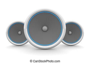 Three Speakers - Blue Design