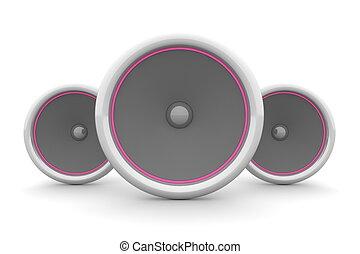Three Speakers - Pink-Purple Design