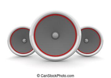 Three Speakers - Red Design