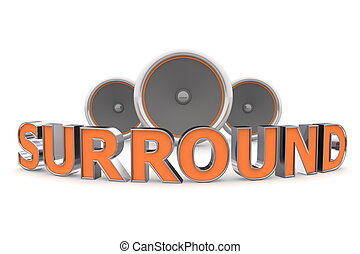 Three Speakers - Surround Bent in Orange