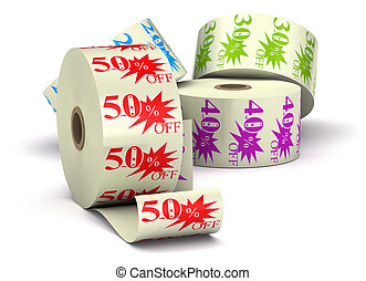 three special offer stickers on a bobbin isolated over a white background