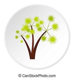 Three spiky palm trees icon, flat style