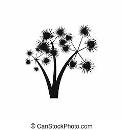 Three spiky palm trees icon, simple style