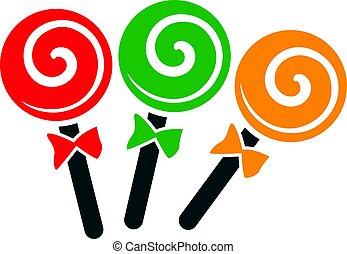 three spiral lollipops