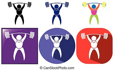 Three sport icon designs for weightlifting   illustration