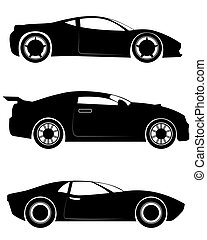 Three sportcar silhouettes - Vector illustration of a three...
