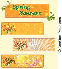 spring banners with spring flowers.