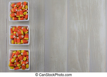 Three Square Bowls of Candy Corn