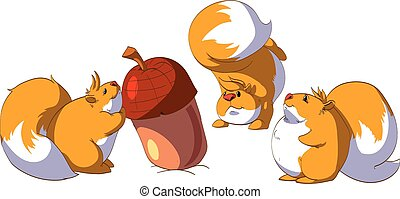 Three squirrels with a giant nut. - Colorful cartoon vector...