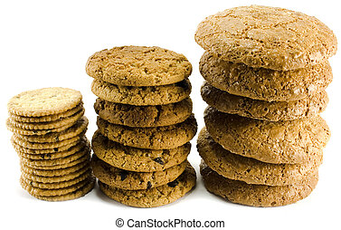three stack of cookies