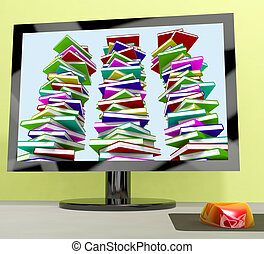 Three Stacks Of Books On Computer Shows Online Learning