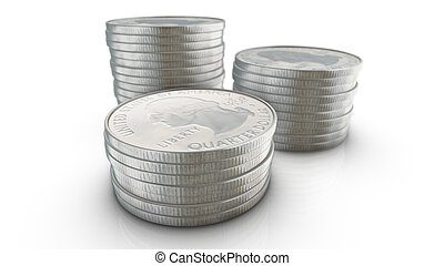 Three stacks of quarter dollar coins on white background. 3d render.
