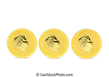 Three standing dollar gold coins isolated on white...