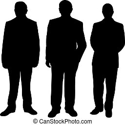 three standing man silhouette