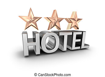 Three stars hotel text , 3d concept isolated on white