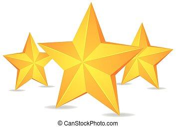 Three stars on white background